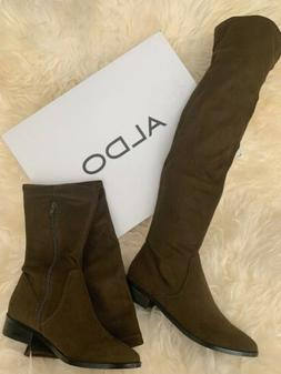 $110 ALDO ELINNA WOMEN'S 7 SLIP ON THIGH HIGHS SUEDE DARK OL