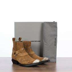 BALENCIAGA 1390$ Santiag 40mm Harness Western Boots In Brown