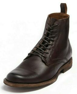 $318 Frye Men's Phillip Lace Up Leather Ankle Boots in DARK
