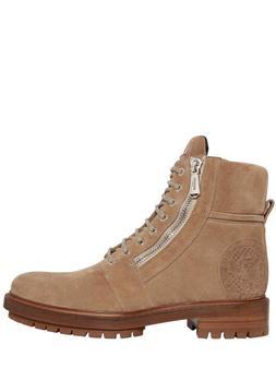 BALMAIN 35Mm Zip Suede Men'sCombat Boots in Beige Eu42/US9