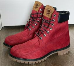 Timberland 6-inch Premium Red Logo All Over Pattern Boots A2