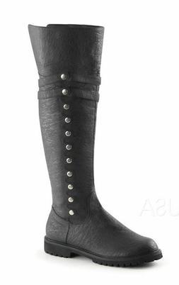 Black Costume Renaissance Medieval Knight Pirate Thigh High