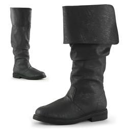 Black Mens Tall Pirate Boots Fold Over Renaissance Fair Cost