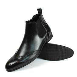 Black Wing Tip toe Leather Mens Ankle Dress Boots Side Zippe