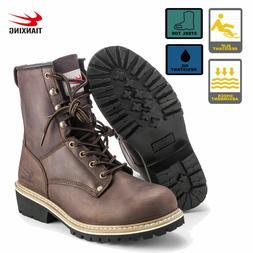 Brown Men's Work Boots Steel Toe Rugged Blue Pioneer Logger