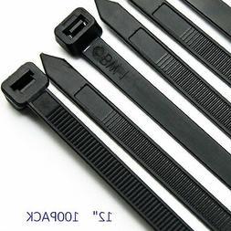 """100Pcs Cable Zip Ties Heavy Duty 12"""" Ultra Strong Plastic Ny"""