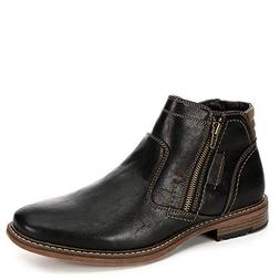 Day Five Mens Dual Side Zip Up Ankle Boot Shoes, Black, US 1