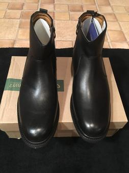 CLARKS EDMEN RISE MENS ZIP-ON SHOES/BOOTS BLACK LEATHER WATE