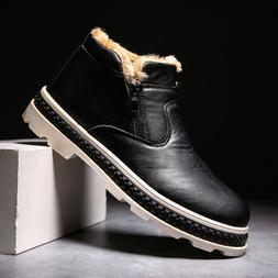Men's Martin Boots Winter Warm Leather Shoes Mens Waterproof