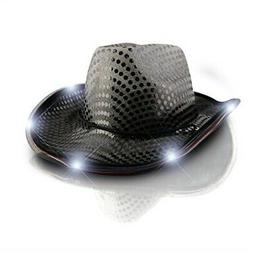 blinkee LED Flashing Cowboy Hat with Black Sequins by
