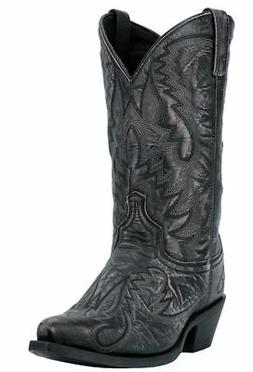 "Laredo Garrett 68407 Mens Black Leather 12"" Western Snip Toe"