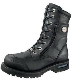 "Harley-Davidson Mens Riddick 8"" Lace-Up Black Leather Motorc"