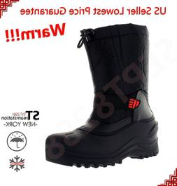 L&M Men's Black Winter Snow Boots Shoes Warm Thermolite Wate