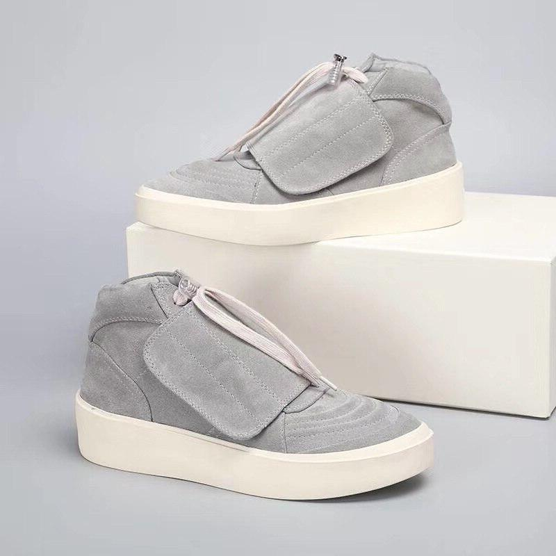 Platform Cow suede high top Motorcycle Black sneaker FLash <font><b>mens</b></font> Round toe Ankle