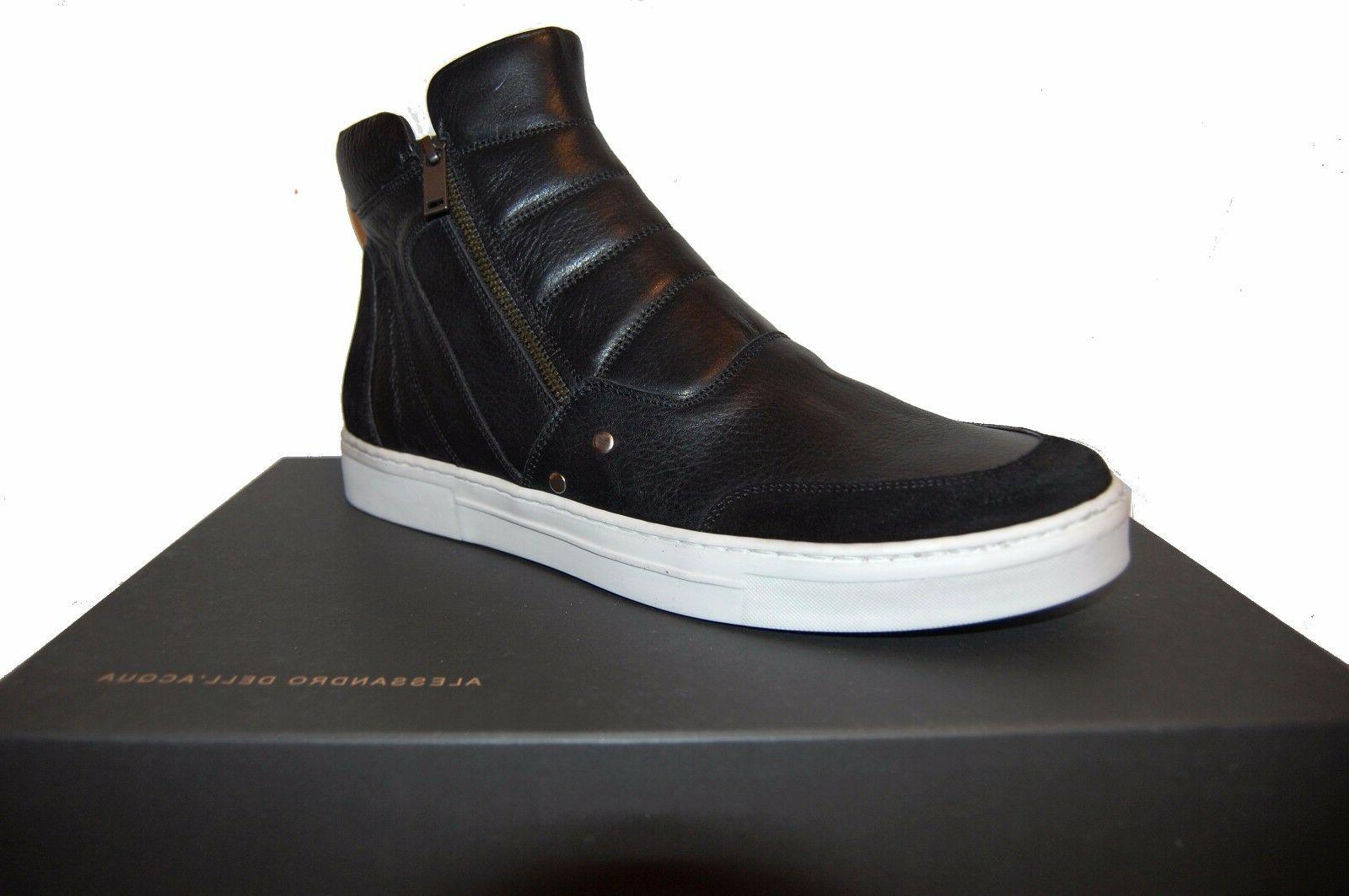 Alessandro Dell'Acqua Men's Black Suede Leather Shoes Boots