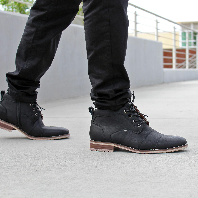 Men's Casual Chukka Cap Toe Zipper Boots