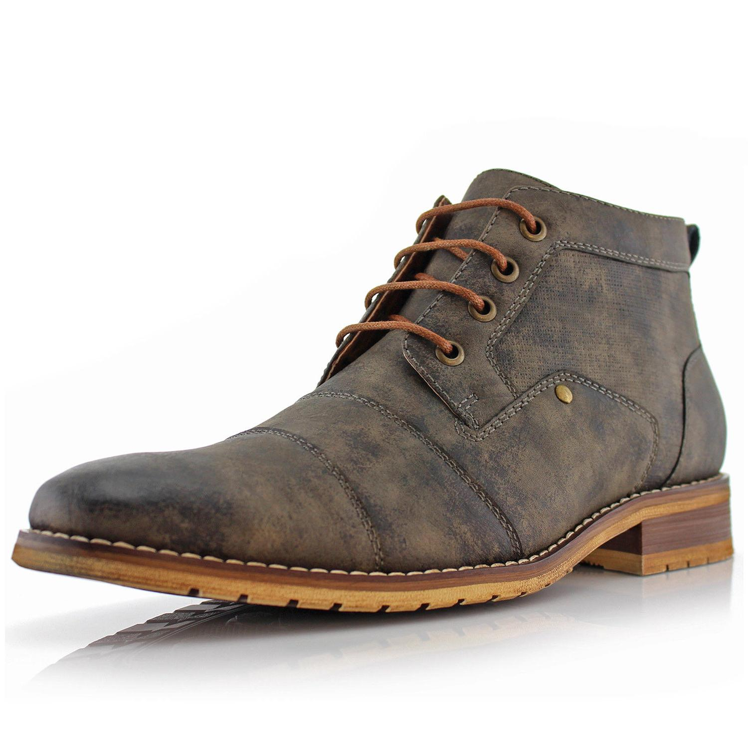 Men's Casual Lace Up Mid Chukka Leather Zipper