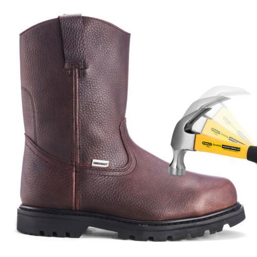 Brown Safety Steel Toe Waterproof On Shoes