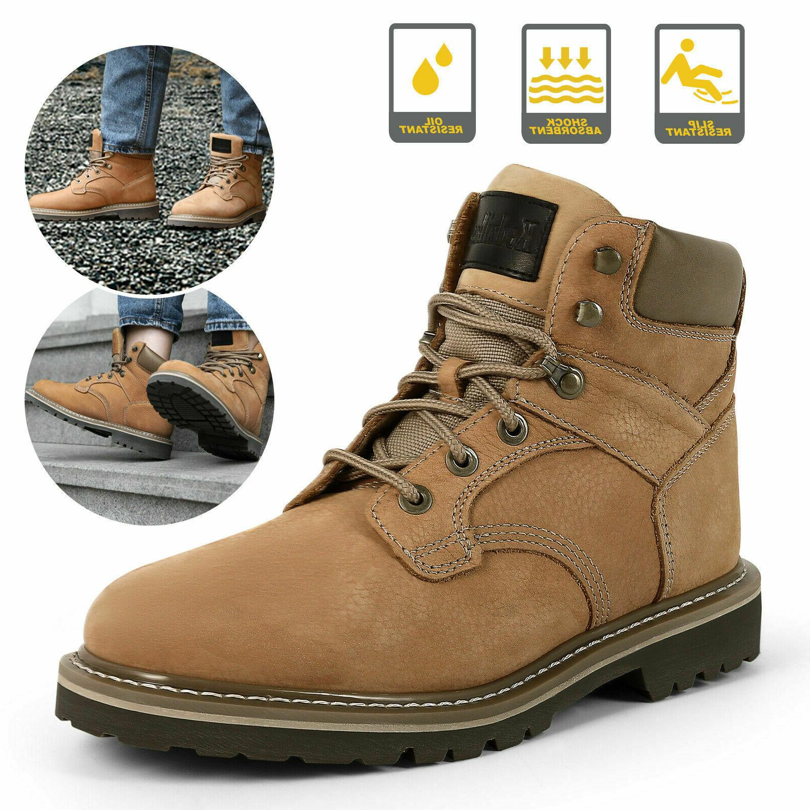 brown men s work boots safety steel