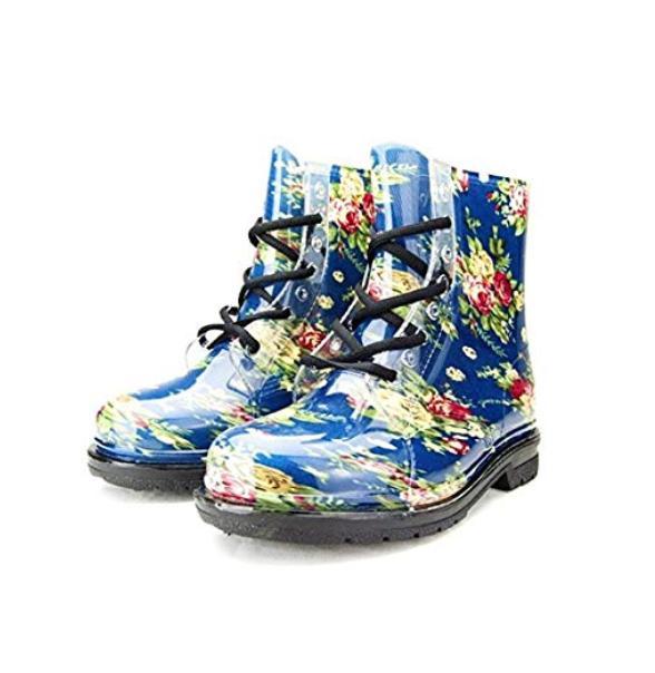 Chemistry Women's Ankle Flat Blue Flower Transparent Jelly M