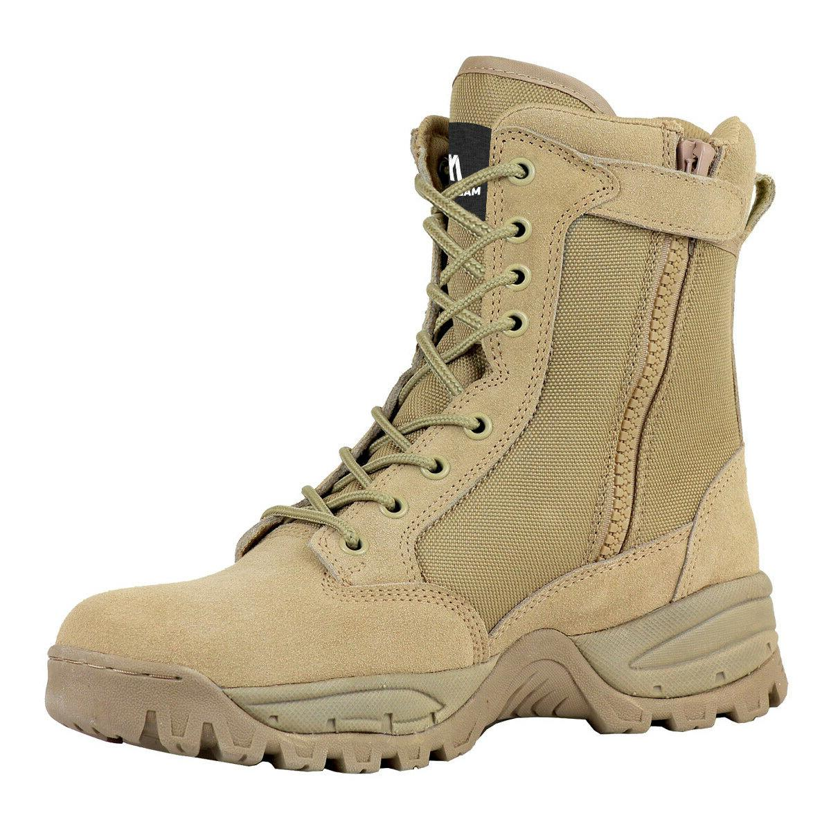 FINAL 8'' Desert Tan Military Tactical Work Boots with Zipper