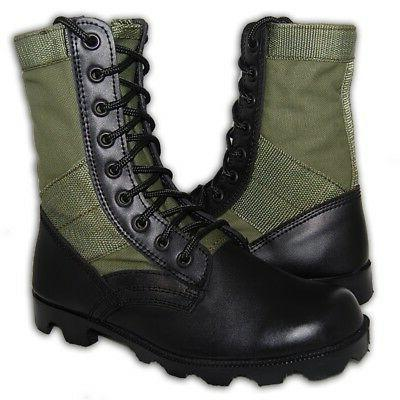 leather military jungle boots 8 inch men