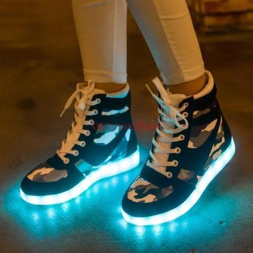 LED Light shoes Mens Lace Up Ankle Boots Casual High-Top Vog