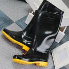 Men Black Waterproof Rain Boots Gloss Shoes Heeled Wellies G