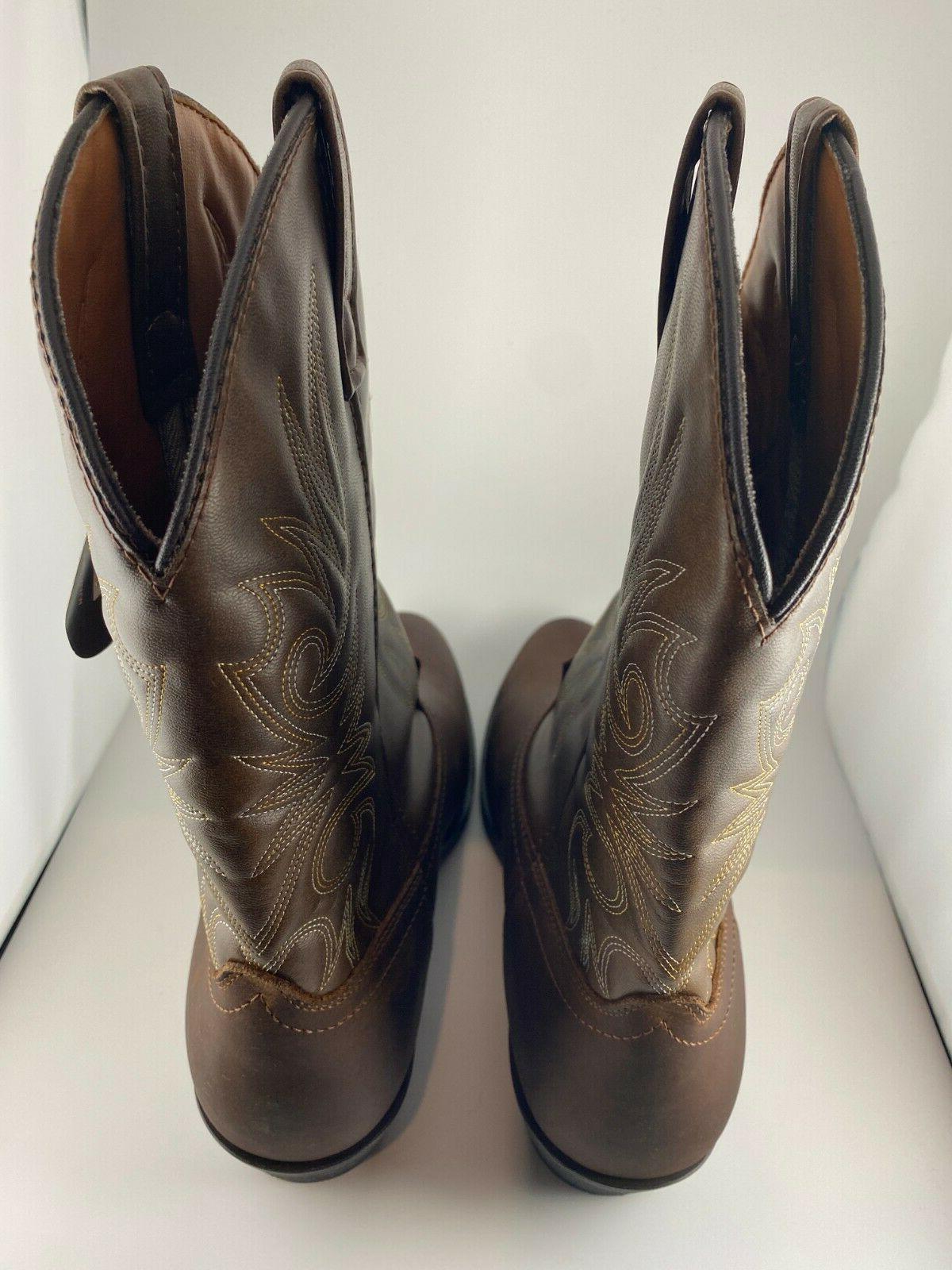 Men's 12-Inch Western Boots Brown Wide
