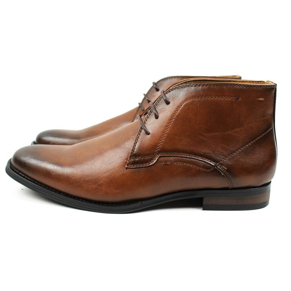 Men's Dress Boots Round Toe Leather D513