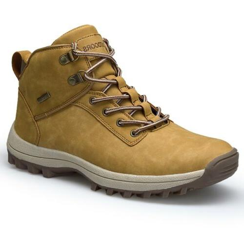 Men's Leather Work Boots Outdoor Waterproof Casual Martin Boots Ankle Shoes