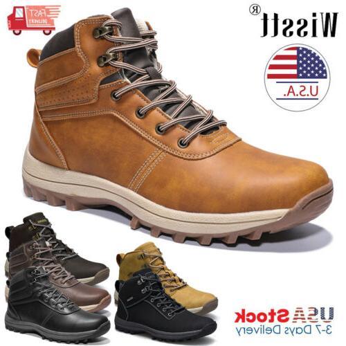 men s leather work boots outdoor waterproof