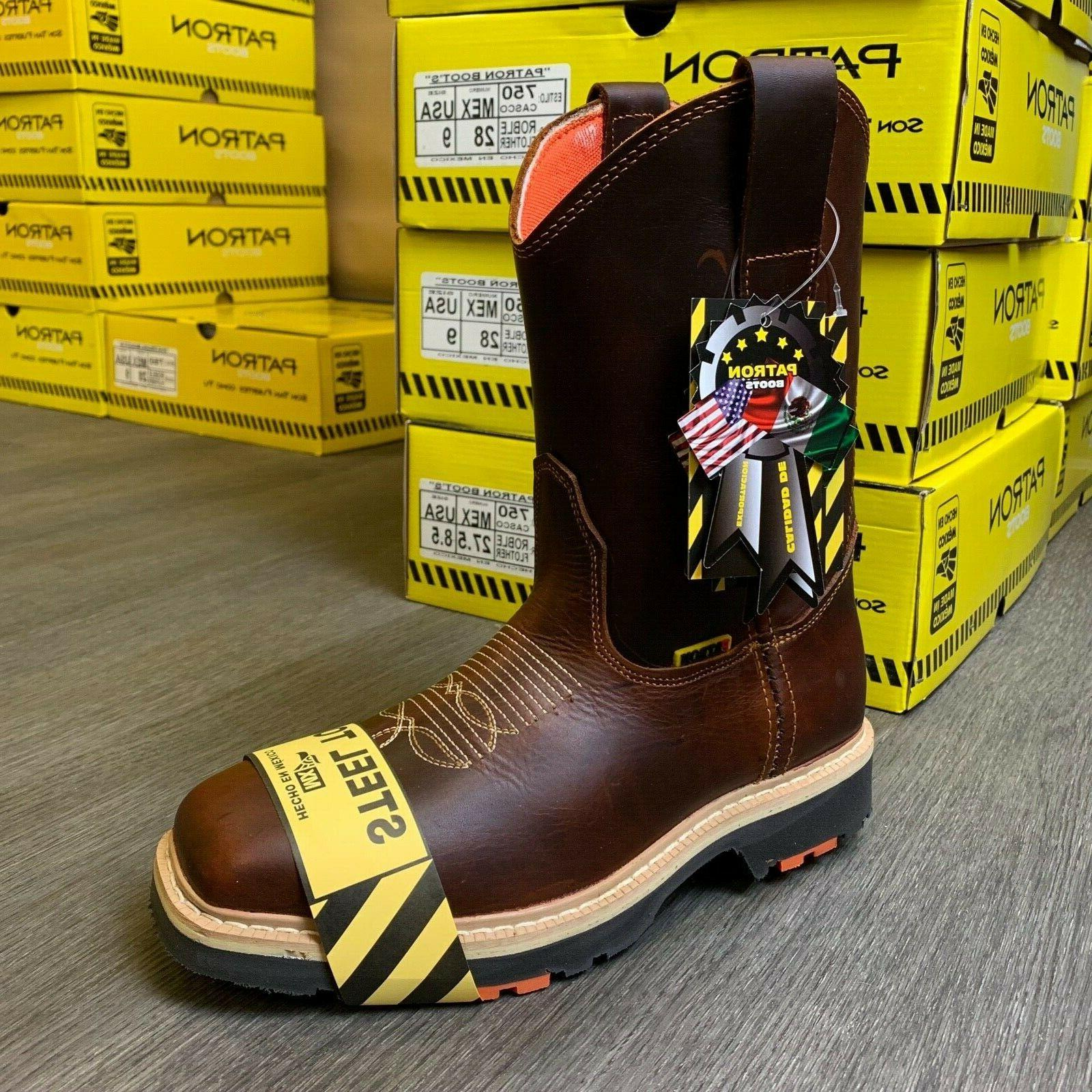 MEN'S SQUARE WORK BOOTS LEATHER COWBOY PULL ON BOTAS
