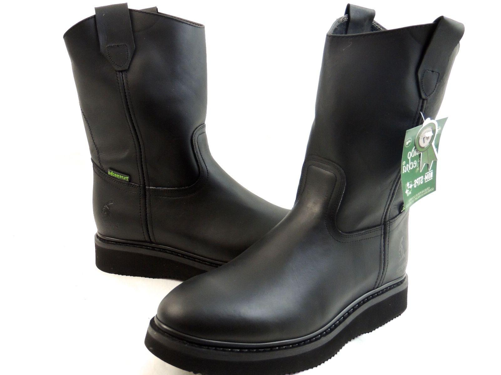 MEN'S WORK BOOTS GENUINE LEATHER BLACK COLOR WESTERN BOOTS C
