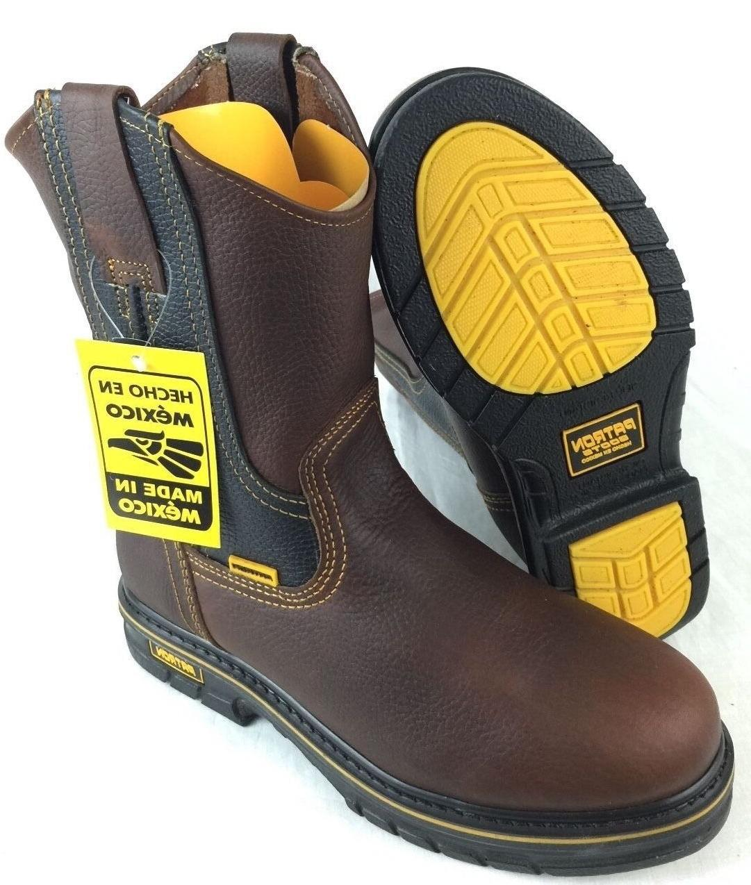 MEN'S WORK BOOTS GENUINE LEATHER BROWN COLOR WESTERN COWBOY