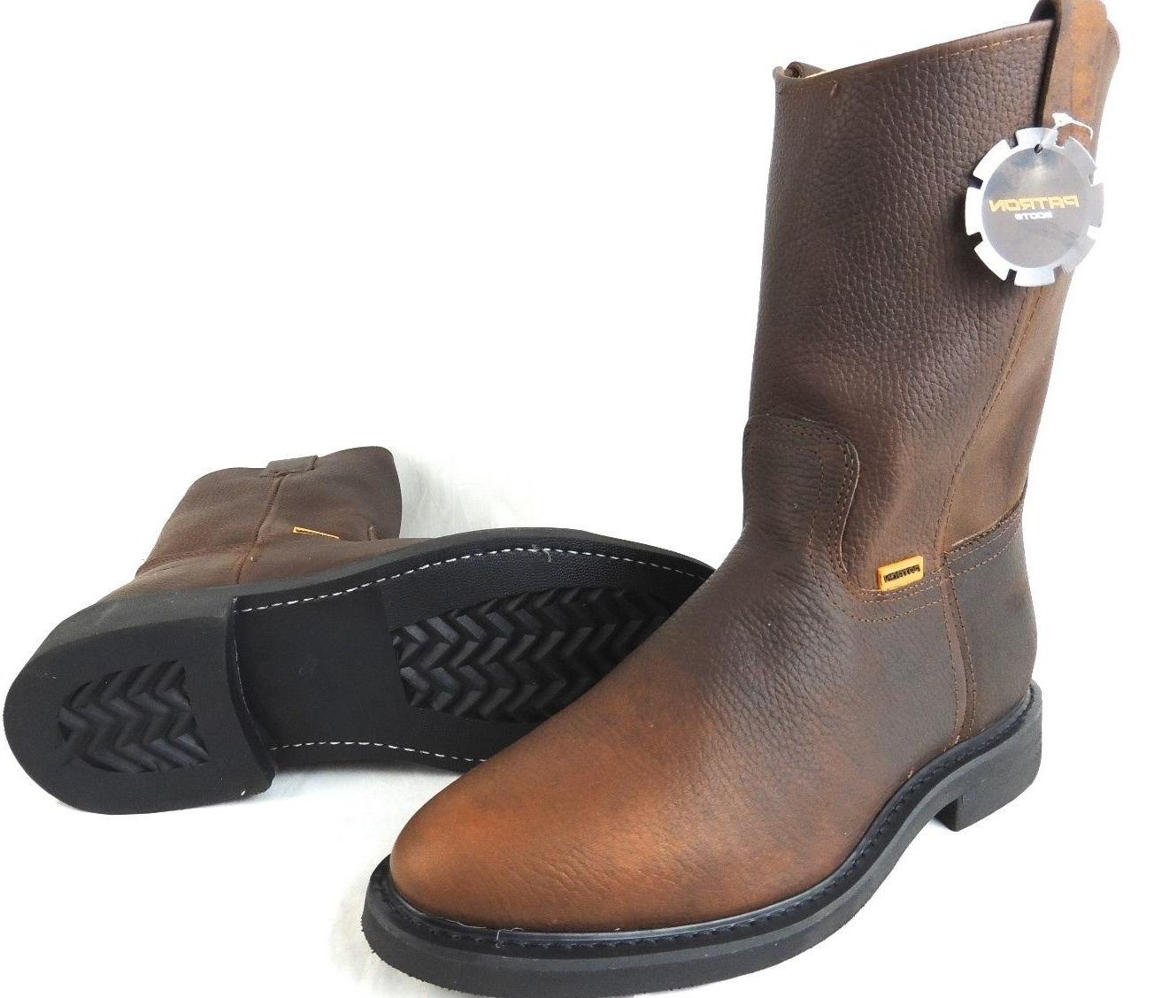 MEN'S WORK BOOTS GENUINE LEATHER PULL ON BROWN COLOR SAFETY
