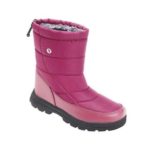 Women's Waterproof Fur Lining Snow Boots Mid Calf Winter Wor