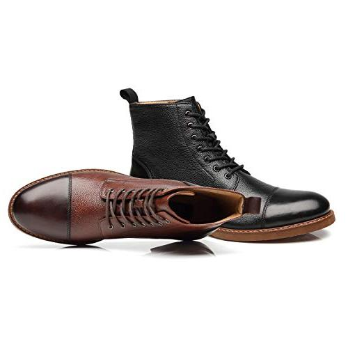 La Mens Boots up Leather Oxford Casual Combat Boots for
