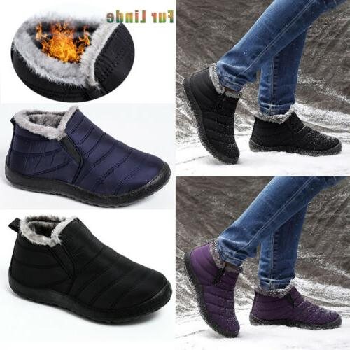 Mens Winter Snow Boots Ankle Fur Lined Warm Casual Cozy Outd