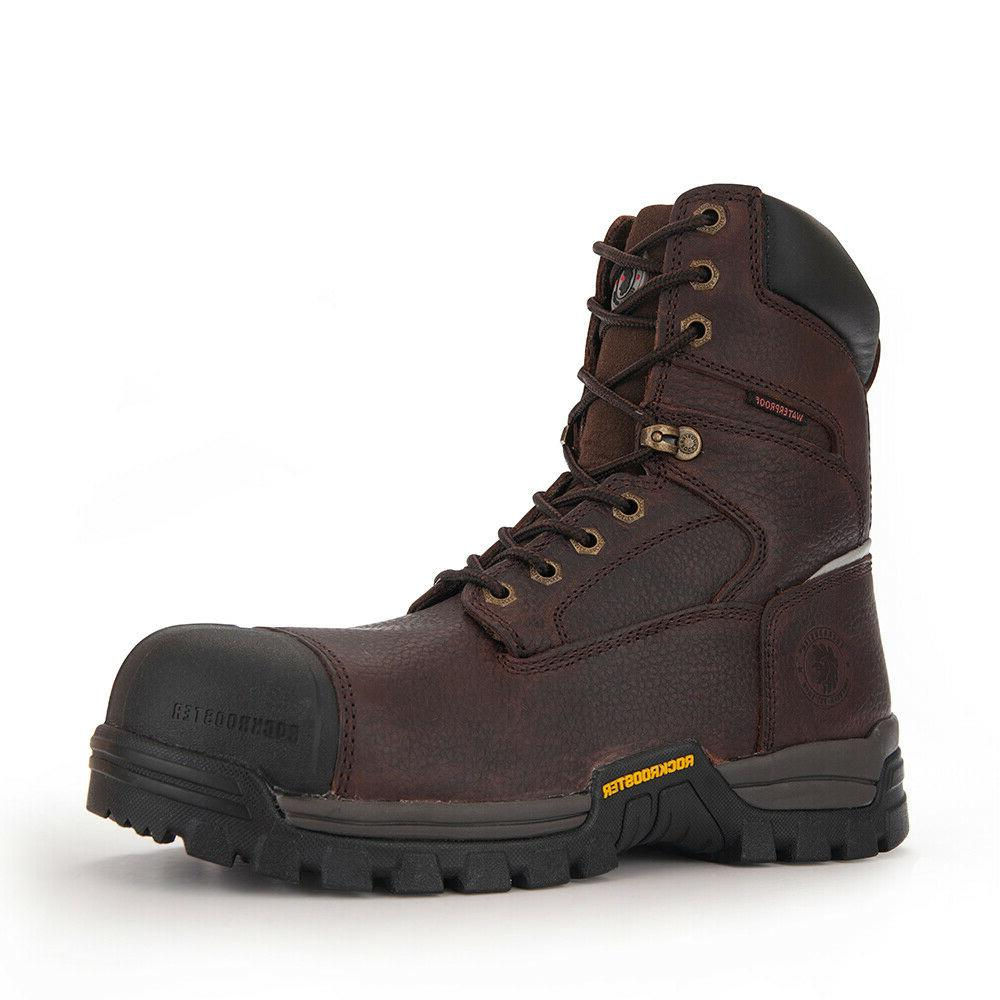 Mens Work Boots Composite Toe Waterproof Safety Shoes Punctu