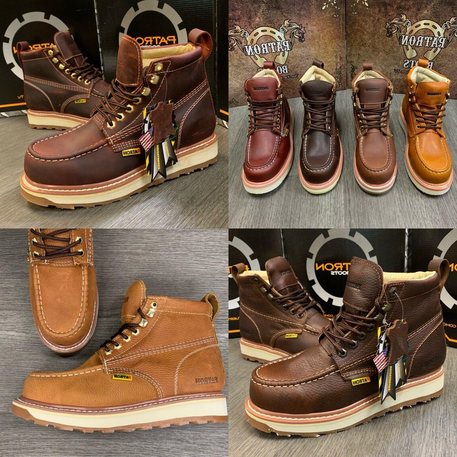 mens work boots moc soft toe genuine