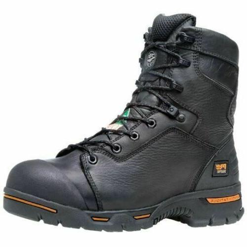 "Timberland PRO Men's Endurance 8"" Steel Toe Work Boots Black"