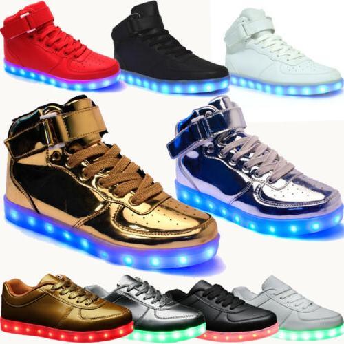 Unisex 7 LED Luminous Shoes Men Women Light Lace Up USB Char