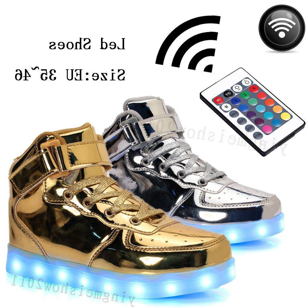Unisex Control Remote LED Light Luminous Lace Up Shoes Boots