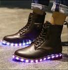 Unisex Mens LED Light Charge Lace Up High Top Boots Combat C