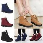 US Women Girl Martin Boots Winter Warm Flat Lace Up Fur Line