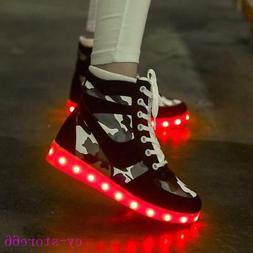 LED Light USB shoes Mens Lace Up Ankle Boots Casual High-Top