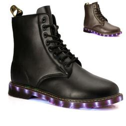 Martin Boots Mens LED light Ankle Boots Lace Up Riding Boots