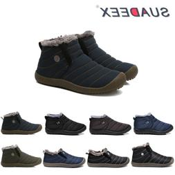 Men Ankle Snow Boots Slip On Winter Waterproof Fur Lined Out