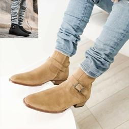 Men Fashion Suede Leather Boots Pointed Toe Casual Chelsea S